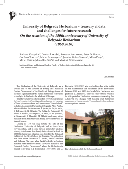 University of Belgrade Herbarium – treasury of