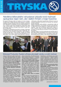 Návštěva běloruského velvyslance ukázala nové možnosti
