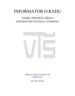 INFORMATOR O RADU - www .vts.su.ac.rs