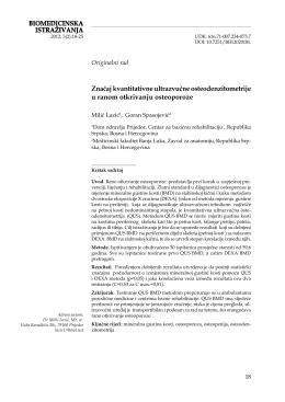 BIOMEDICINSKA ISTRAŽIVANJA Značaj kvantitativne ultrazvučne