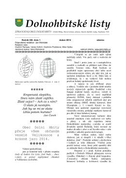 Dolnohbitské listy - jaro 2014