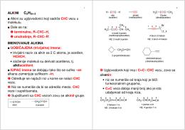 ALK INI Alkini su ugljovodonici koji sadrže C≡C vezu u molekulu