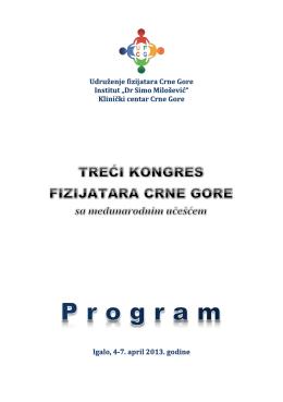 OPŠTE INFORMACIJE - Udruženje fizijatara Crne Gore