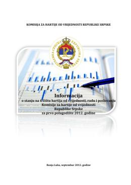 Informacija - Komisija za hartije od vrijednosti Republike Srpske