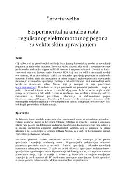 Četvrta vežba Eksperimentalna analiza rada regulisanog