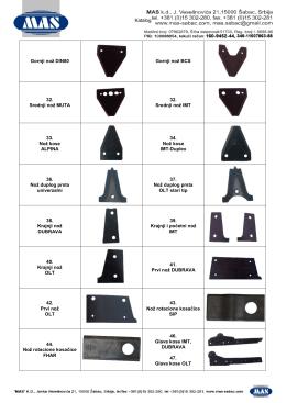 Katalog Gornji nož DIN80 Gornji nož BCS 32. Srednji - MAS