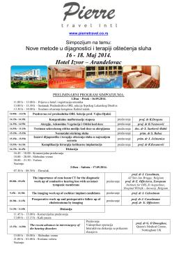 16 - 18. Maj 2014. Hotel Izvor – Aranđelovac
