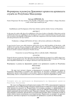 Formirawe i razvoj na Dr`avniot arhiv i na arhivskata slu`ba vo