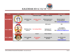 Kalendar 2014/15/16 - Savez srpskog folklora Švajcarske