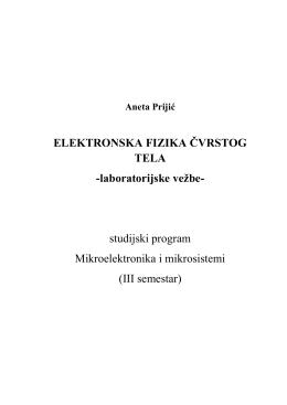 FIZIČKA ELEKTRONIKA - Elektronski fakultet Nis