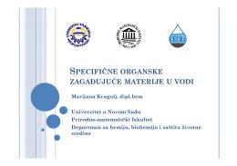 Analiza specifičnih organskih zagađujućih materija u vodi