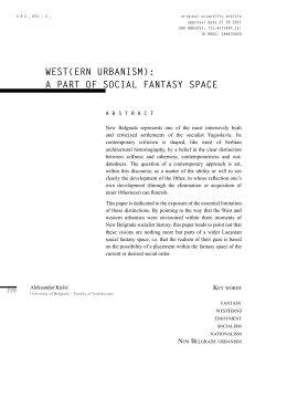 west(ern urbanism) - Serbian Architectural Journal