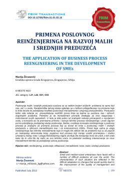 razvoj malih i srednjih preduzeća - FBIM Transactions