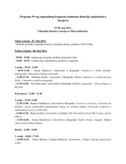 Program Prvog regionalnog kongresa studenata historije