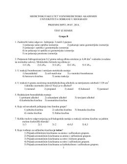 Тест питања из хемије група Б, 2014. година