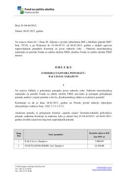 Odluka o dodjeli ugovora - fond za zaštitu okoliša fbih