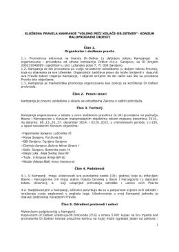 """SLUŽBENA PRAVILA KAMPANJE """"VOLIMO PEĆI KOLAČE"""
