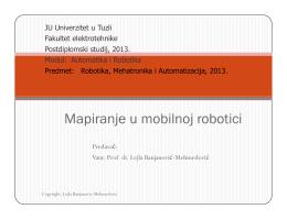 Mapiranje u mobilnoj robotici p j j - Vanr.prof.dr. Lejla Banjanović
