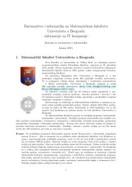 Racunarstvo i informatika na Matematickom fakultetu Univerziteta u