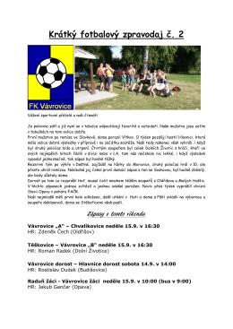 Krátký fotbalový zpravodaj č. 2(PDF: 328.67 kB) - Vávrovice