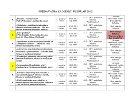 Termini predavanja za mesec Februar 2015. godine
