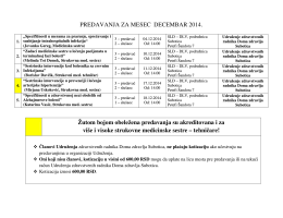 Termini predavanja za mesec Decembar 2014. godine