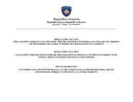 RREGULLORE Nr. 13 /2011 - Agjencia e Ushqimit dhe Veterinarisë