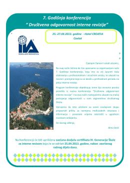"7. Godišnja konferencija "" Društvena odgovornost interne revizije"""