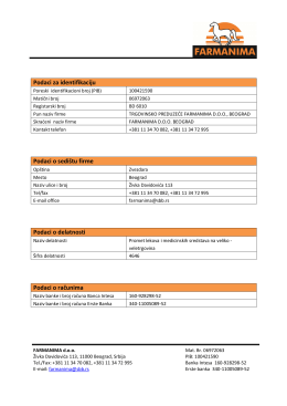 Podaci za identifikaciju Podaci o sedištu firme Podaci o