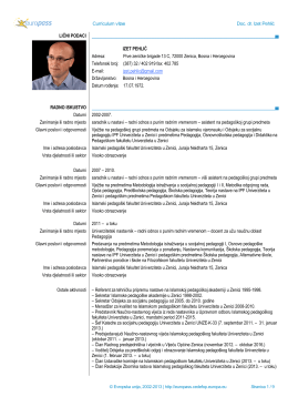 Curriculum vitae Doc. dr. Izet Pehlić LIČNI PODACI IZET PEHLIĆ