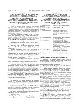 ODLUKU PROGRAM - Federalno ministarstvo poljoprivrede