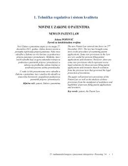 1. Tehnička regulativa i sistem kvaliteta NOVINE U