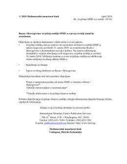 Bosna i Hercegovina: izvještaj osoblja MMF-a o prvoj reviziji