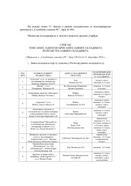 Списак уписаних,односно брисаних јавних складишта из