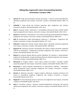 Bibliografija magistarskih radova Stomatološkog fakulteta
