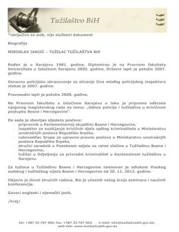 *isključivo za web, nije službeni dokument Biografija MIROSLAV