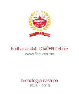 Fudbalski klub LOVĆEN Cetinje hronologija nastupa