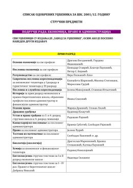 списак одобрених уџбеника за шк. 2001/12. годину стручни