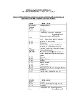 списак уџбеника усвојен нанаставничком већу за школску 2014/15.