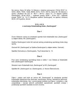 Odluka o osnivanju Košarkaškog kluba ,,Danilovgrad