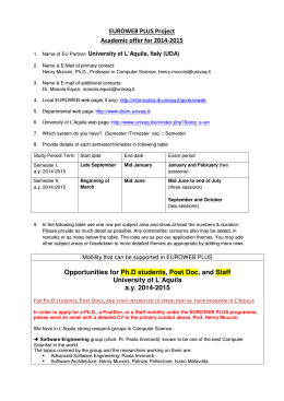 EUROWEB PLUS Project Academic offer for 2014