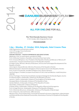 PROGRAMME I day – Monday, 27. October 2014, Belgrade, Hotel Crowne