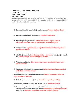 PREDMET: HIDROBIOLOGIJA TEST I a IME I PREZIME BR. INDEKSA
