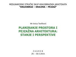 planiranje prostora i pejzažna arhitektura: stanje i perspektive