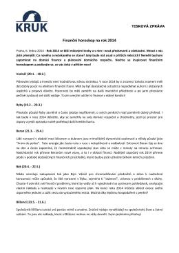 Finanční horoskop na rok 2014