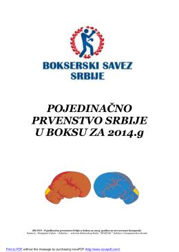 POJEDINAČNO PRVENSTVO SRBIJE U BOKSU ZA 2014.g