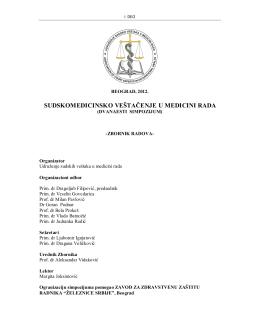 Prvi deo (pdf) - usvmr - udruzenje sudskih vestaka medicine rada