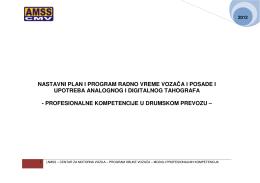 NASTAVNI PLAN I PROGRAM RADNO VREME - AMSS-CMV