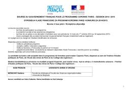 1 bourse du gouvernement français pour le programme copernic paris