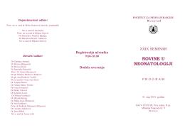 NOVINE U NEONATOLOGIJI - Institut za neonatologiju